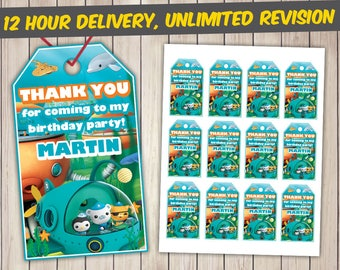 Octonauts Thank You Tags, Octonauts Favor Tags, Octonauts Gift Tags, Octonauts Tags Printables