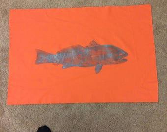 Original Redfish Gyotaku Fish Rubbing by Artist Alex Dragoni