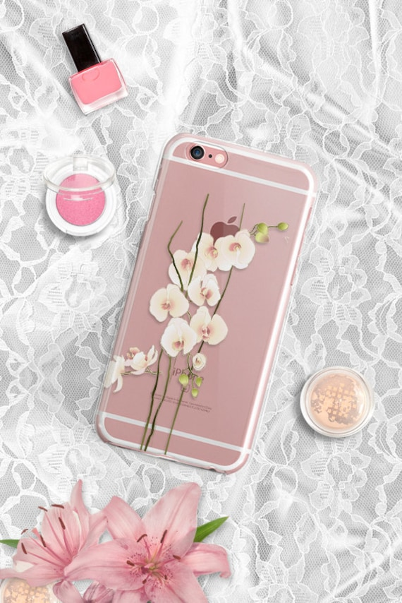 iPhone 7 Floral Clear Rubber Case Orchid iPhone 7 Plus Clear Case iPhone 6 Clear Case iPhone 6S Case iPhone SE Case Samsung S7 Edge Case