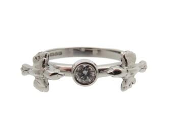 Love Birds Ring, 18ct White Gold, Brilliant Cut Diamond, Engagement Ring, Handmade in Brighton, uk