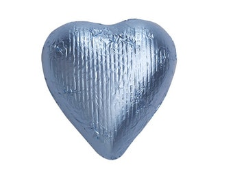 Sweetworks Hearts Solid Milk Chocolate Candy - Pastel Blue - 1 LB Bag