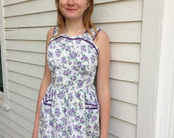 50s White Floral Dress Purple Print Summer S