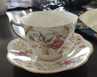 Rosina Floral pattern Cup and Saucer, Bone China, England