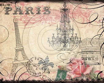 Parisian Eiffel Tower & Arc de Triumphe French Digital Collage Instant Download for notecards, ACEOs, altered art, scrapbooking