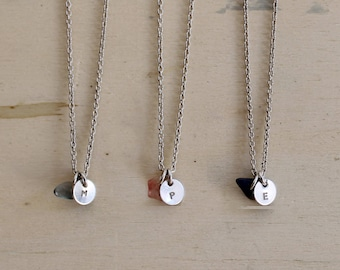 Silver necklace with initial charm Personalized disc with natural stones Bridesmaids gift - YOU