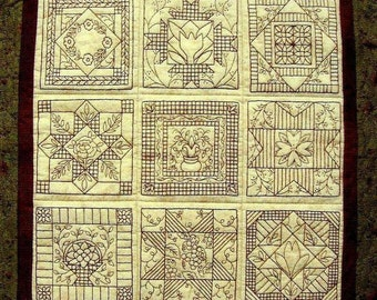 Garden Tiles Quilt Pattern - Redwork Hand Embroidery Blocks & Finishing Quilt  Pattern - by Beth
