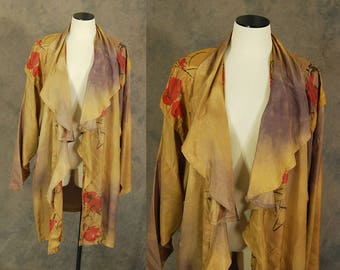 vintage 80s Cocoon Jacket - 1980s Phool Indian Draped Duster Jacket - Avant Garde Oversized Jacket Sz S M L