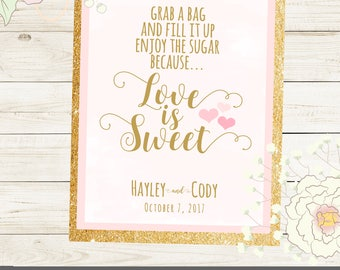 LOVE is SWEET personalized sign for wedding or shower. Printed or PDF Sign in size, color  of choice. Haley Collection  Mint Pink Gold.