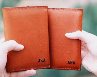 Monogrammed Passport Cover, Couples Wedding Gift, Leather Passport Holder, Engagement Gift, Personalized Travel Wallet, Boyfriend Gift,