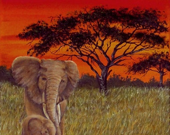 Sunset on the Savannah, Acrylic paint