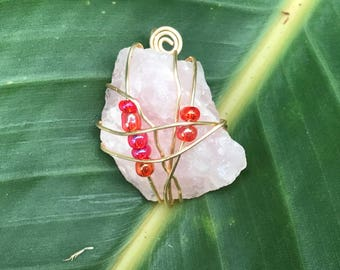 rose quarts stone wire wrapped neckalce