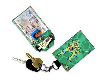 Leonardo Teenage Mutant Ninja Turtles Mini Wallet Card Holder Keychain Clear ID Holder Small Wallet Student ID Badge Credit Card TMNT Toon