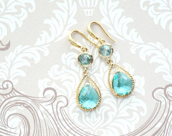 Mabel - Aquamarine Glass Teardrop Earrings Gold, gifts for her, wedding, Champagne Bridal Bridesmaid necklaces, Gold Bridesmaids