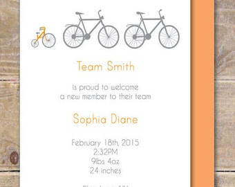 Bicycle Baby Announcements, Baby Info Announcements, Bikes,  Baby Bike Announcement, New Baby, Baby Info Cards  - Bike Team