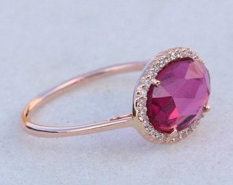 Pink Tourmaline Gemstone Ring Diamond Pave Solid 14k Yellow Gold Jewelry