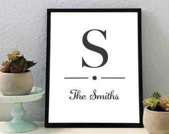 Personalized Family Name Print, Custom Wedding Sign, Family Name Print, Family Name Art, Custom Name Print, Home Wall Decor Printable, Print