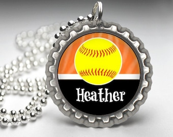 1 Personalized Orange Softball Bottlecap Necklace, 15 Color Choices, softball gifts, softball team, softball team gifts, necklaces