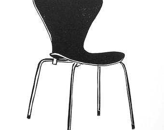 Retro chair linocut - series 7 chair art, design classic art, design lover gift