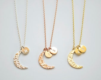 Crescent Moon and Initial Disc, I Love You to the Moon & Back Necklace, Wedding Gift, Bridal Shower, Gift for Her, Mother's Day.