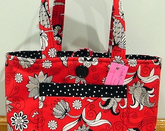 NWT Totally Toteable Totes Red Blooms Print Tote