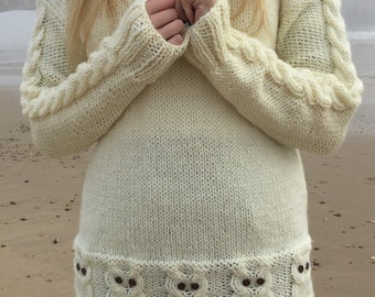 PATTERN Parliament of Owls Jumper - 3 adult sizes - intermediate. Chunky/bulky.