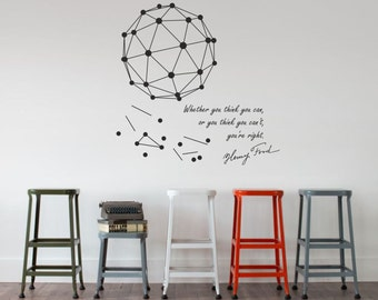 Science art - Henry Ford motivational quote plus a geometric minimal engineering wall decal for museums & schools creative scientific decor
