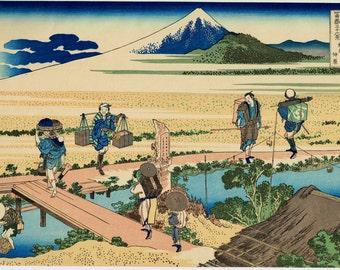 "Japanese Ukiyo-e Woodblock print, Katsushika Hokusai, ""Nakahara in Sagami Province, from the series Thirty-six Views of Mount Fuji"""