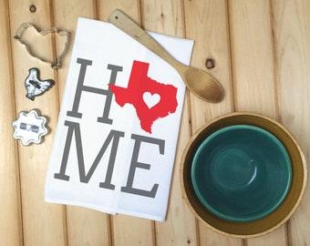 Texas State Flour Sack Towel, Texas State Tea Towel, Flour Sack Tea Towel, Housewarming Gift, Wedding Gift, Kitchen Decor, Real Estate Gift