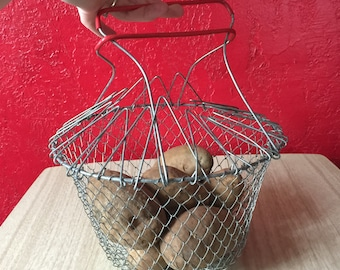 Vintage Collapsible Wire Mesh Basket with Red Handles