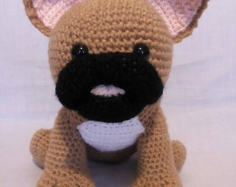 Crochet Brown French Bulldog - French Bulldog gift - Handmade French Bulldog toy - Brown French Bulldog - Soft toy French Bulldog - Dog gift