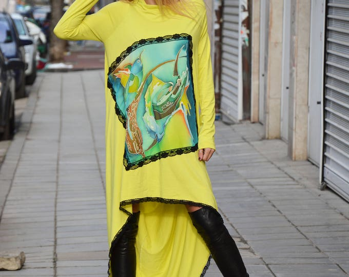 Oversize Dress With Lace, Maxi Tunic Hand Painted Birds, Loose Casual Tunic, Asymmetric Dress, Fashion Maxi Tunic by SSDfashion