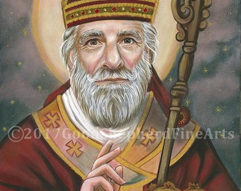 """St. Nicholas, Father Christmas, Bishop 8""""x10"""" & 11""""x14"""" Prints on White Card Stock, Image from my Signed, Original Acrylic Painting, Art"""