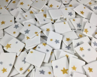 170 Gold and Silver Broken China Mosaic Star Tiles and Star Filler Pieces