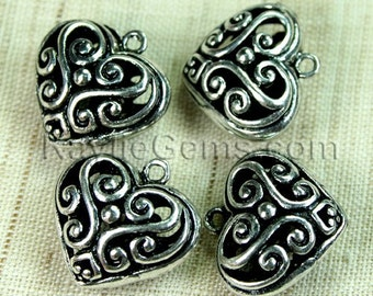 Filigree Heart Charms Antique Silver Victorian Lacy Foral -4pcs