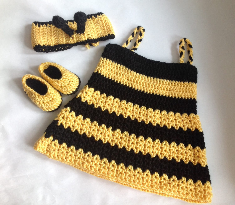 Crochet baby girl bumble bee dress with Headband PDF Pattern