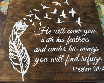 Psalm 91:4 wall decor