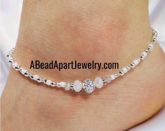 Anklet Ankle Bracelet, Pave Style Silver Anklet, White Anklet, Wedding Anklet, Beach Anklet, Summer Anklet, Beaded Anklet, Crystal Anklet