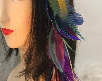 Bright Colorful Dangling Feather Hair Clip, Feather Hair Extension, Long Tribal Hair Accessory, Festival Wear, Hair Clip, Feather Hair Clip