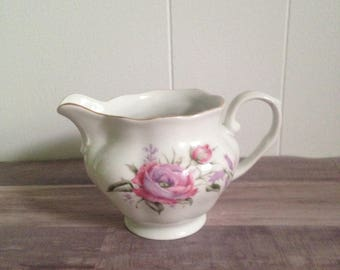Vintage Favolina Creamer, Pink Roses, Shabby Chic, Made in Poland, Tea Party
