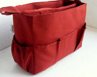 Extra taller Purse organizer - Bag organizer insert in Rust fabric