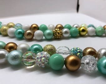 Mint, Gold & White Womens Wrap Around Necklace, Extra Long Necklace, Handmade, One-of-a-kind!