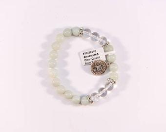 Alluring Amazonite and Clear Quartz Bracelet.