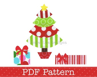 Christmas Tree and Presents Applique Template, Gifts, DIY. PDF Pattern by Angel Lea Designs, Instant Download Digital Pattern
