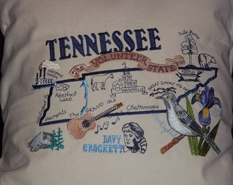 Embroidered State Map Pillow Tennessee