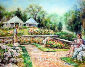 Art, print Landscape garden Floral. Roses, Reading, Family romantic, Canvas or art paper print, Laurie Shanholtzer