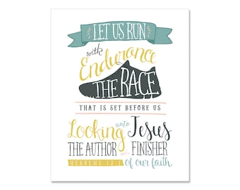 Printable Art Bible Verse, gift for runners Hebrews 12:1, Wall Print, Instant Download, Art Print, Home Decor, Gift for Her