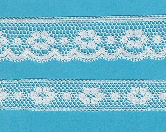 White French Cotton Lace - Matching Edging and Insertion - Heirloom Sewing Supplies - Doll Dress Supplies