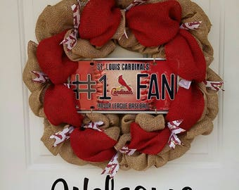 St Louis Cardinals Wreath / StL Cardinals Wreath / Burlap Wreath / Cardinals Fan / Cardinals Wreath / Baseball Wreath / Wreath