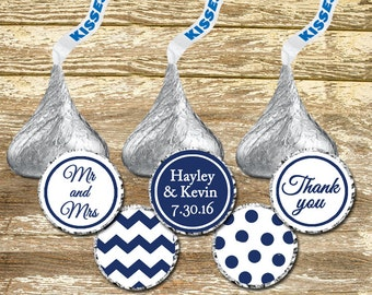 Hershey Kisses Stickers, Stickers wedding Kisses Stickers, Blue Wedding Kisses, Navy Wedding Stickers, White and Blue Wedding Favors
