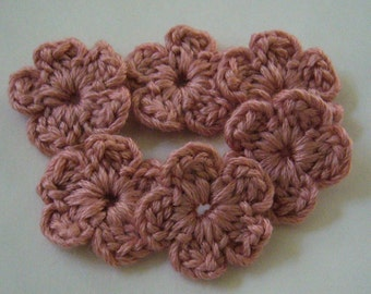 Crocheted Flowers - Rose Bisque Forget-Me-Nots - Wool Flowers - Crocheted Appliques - Crocheted Embellishments